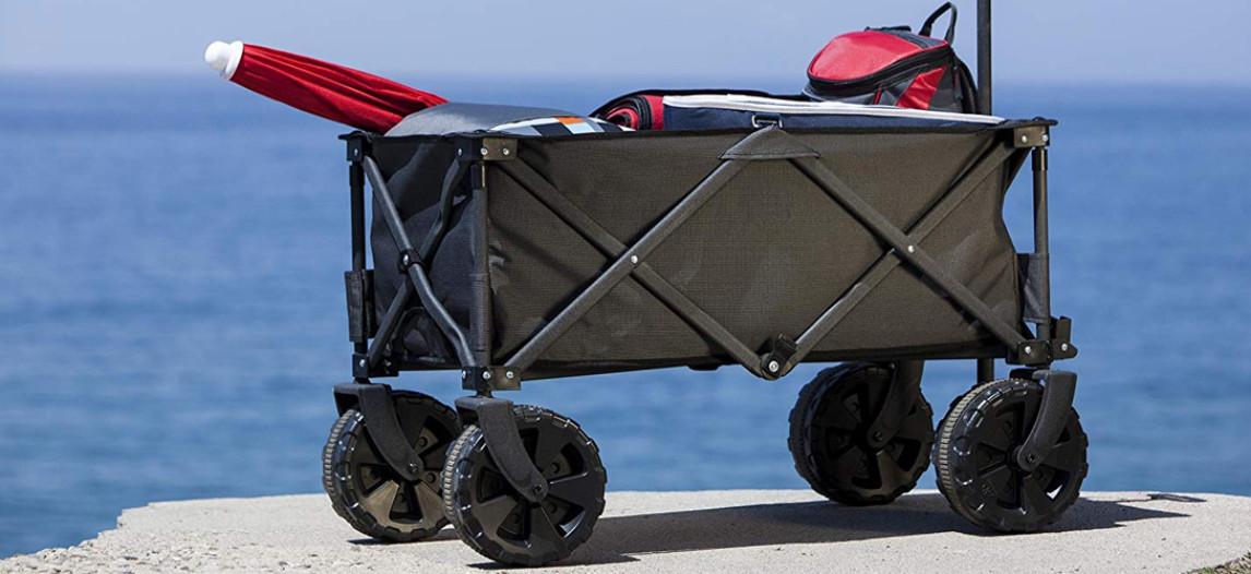 Chariot à tirer Pliable Plage Chariot Chariot 7 pouce de terrain roues